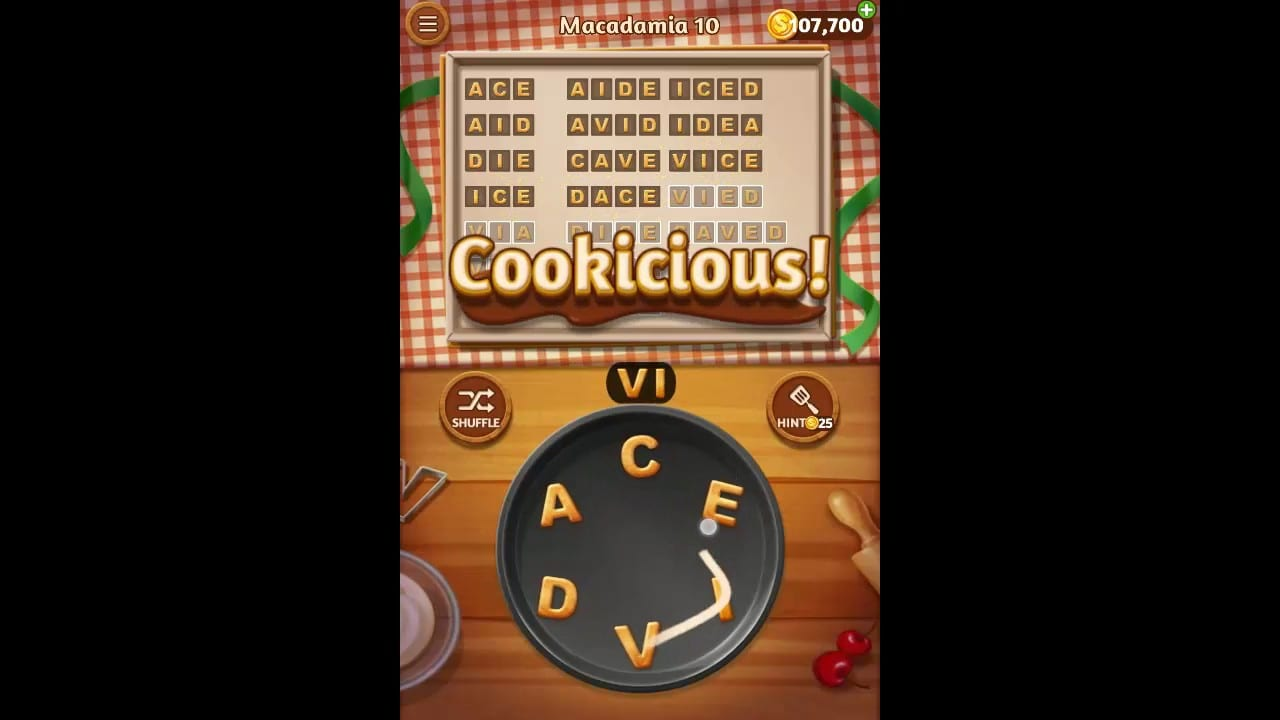 Word Cookies Macadamia Pack Level 10 Answers