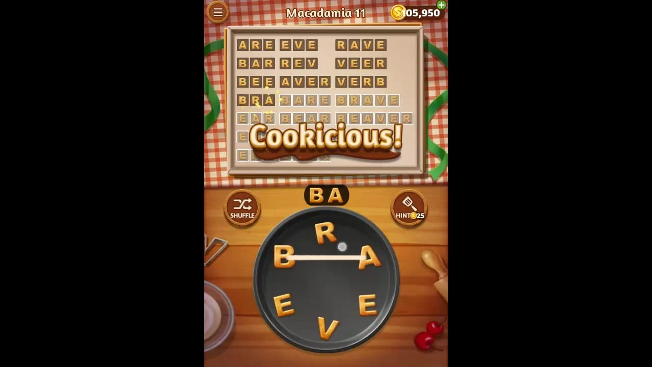 Word Cookies Macadamia Pack Level 11 Answers