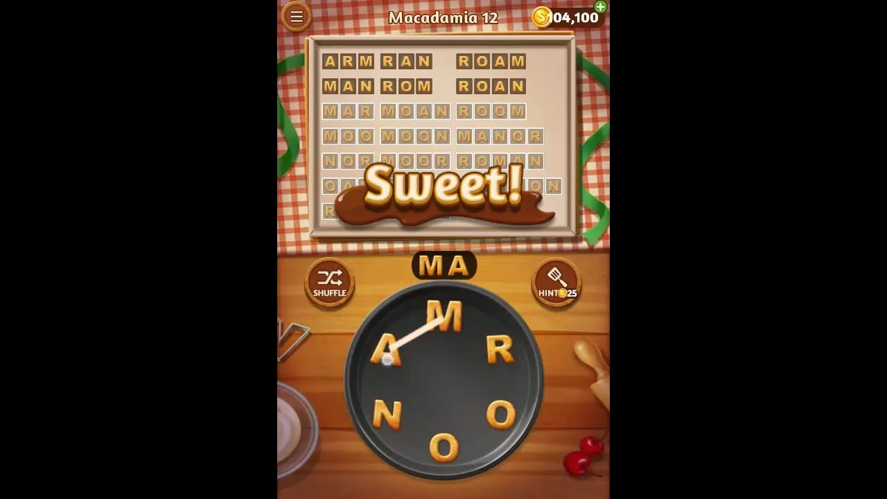 Word Cookies Macadamia Pack Level 12 Answers