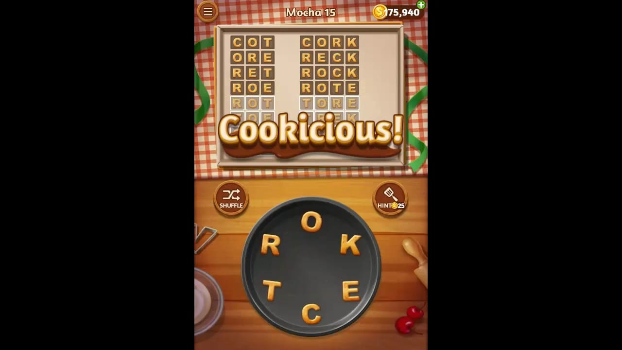 Word Cookies Mocha Pack Level 15 Answers