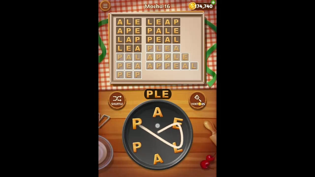 Word Cookies Mocha Pack Level 16 Answers