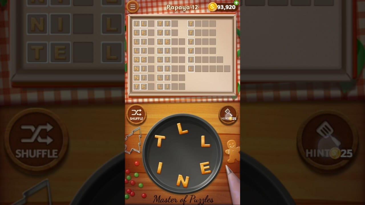 Word Cookies Papaya Level 12 Star Chef Solved