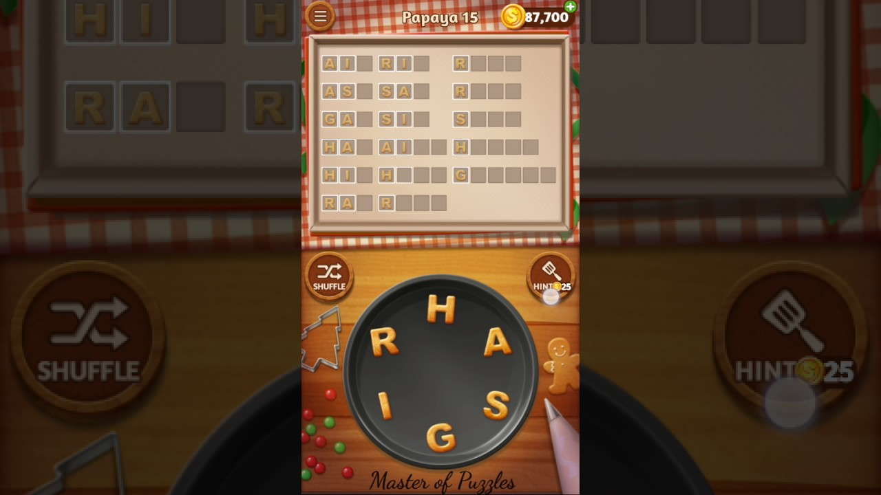Word Cookies Papaya Level 15 Star Chef Solved