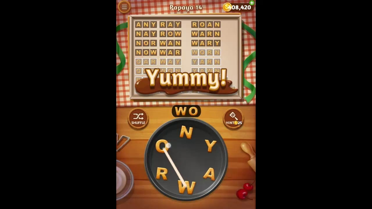Word Cookies Papaya Pack Level 14 Answers