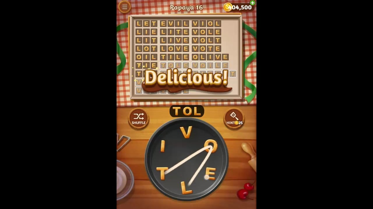 Word Cookies Papaya Pack Level 16 Answers