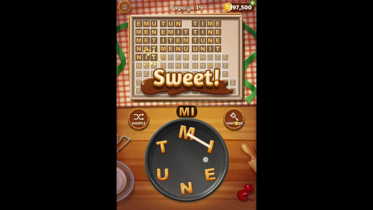 Word Cookies Papaya Pack Level 19 Answers