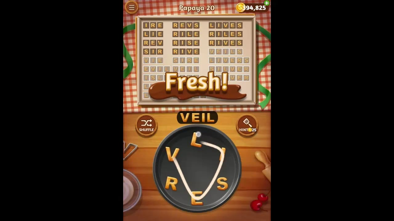 Word Cookies Papaya Pack Level 20 Answers