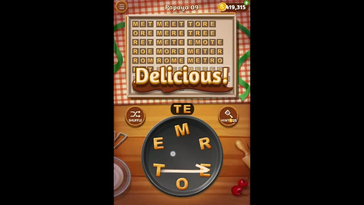 Word Cookies Papaya Pack Level 9 Answers