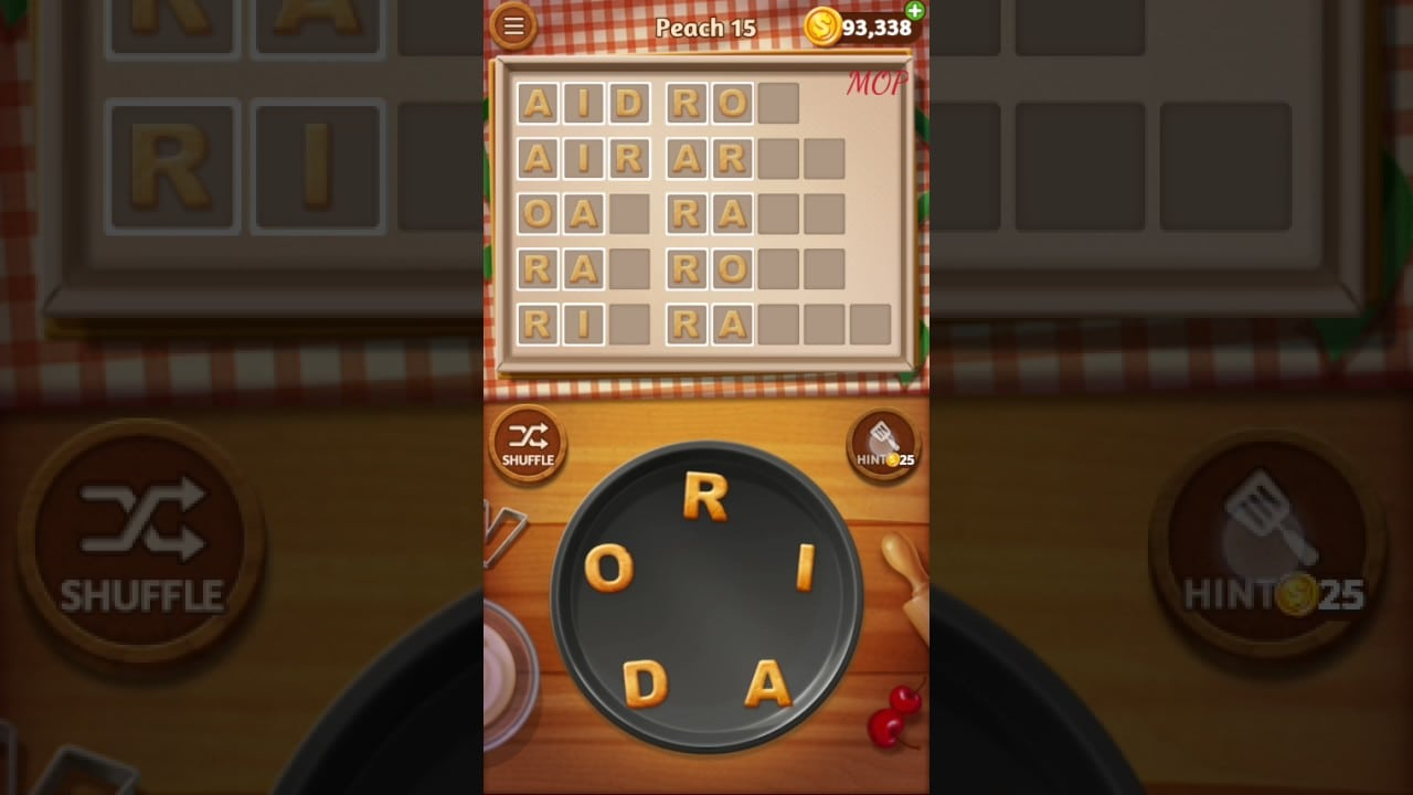 Word Cookies Peach Level 15 Talented Chef Solved