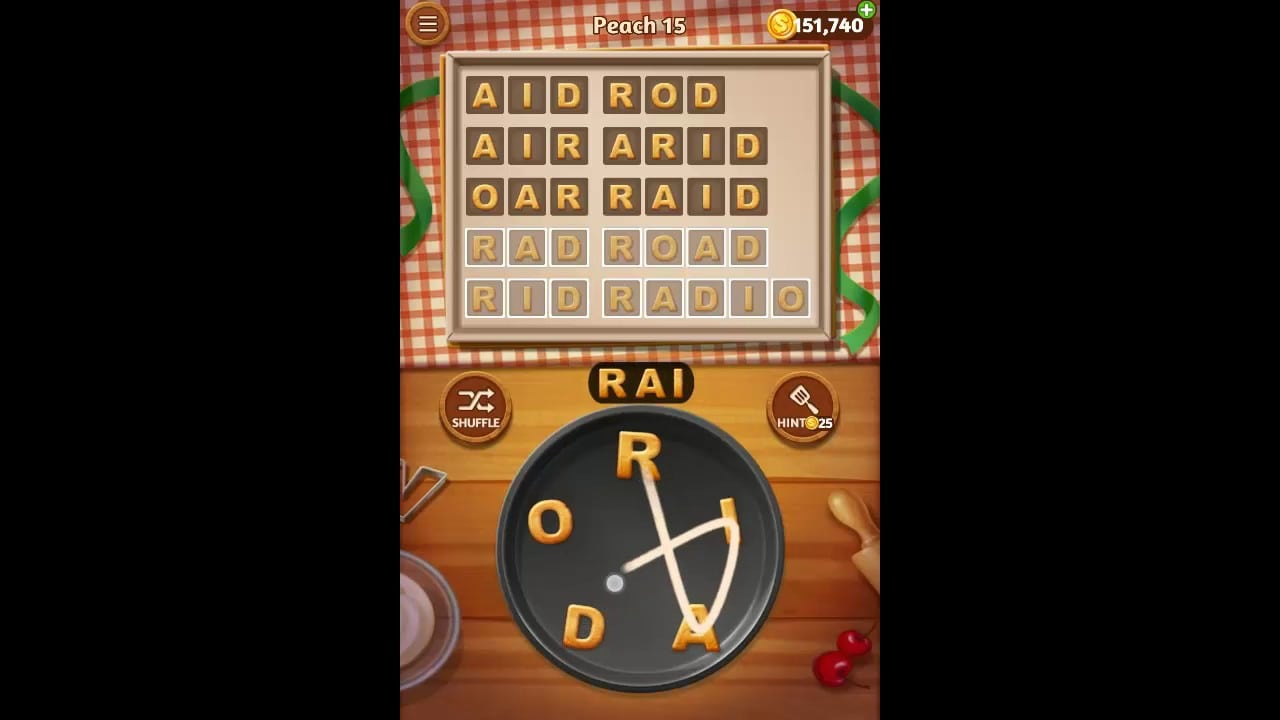 Word Cookies Peach Pack Level 15 Answers