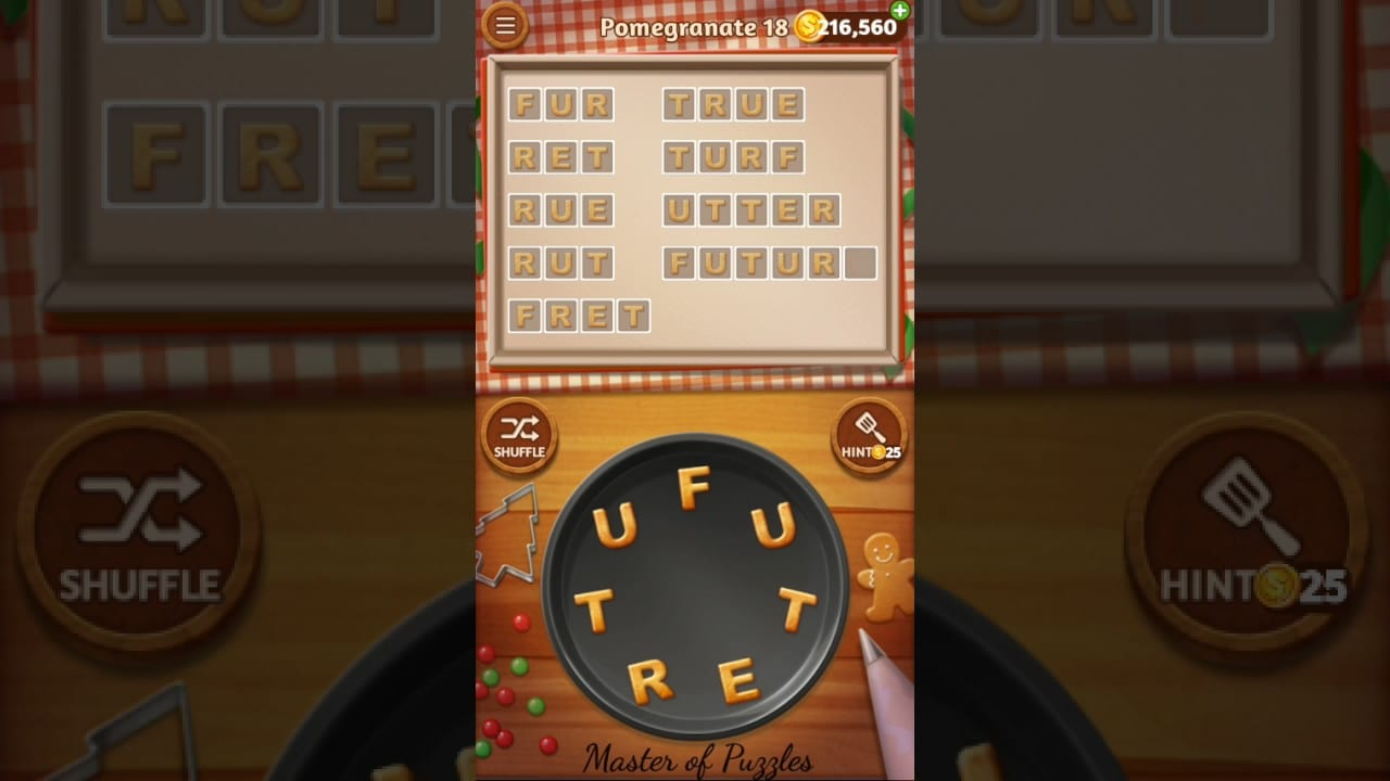 Word Cookies Pomegranate Level 18 Star Chef Solved