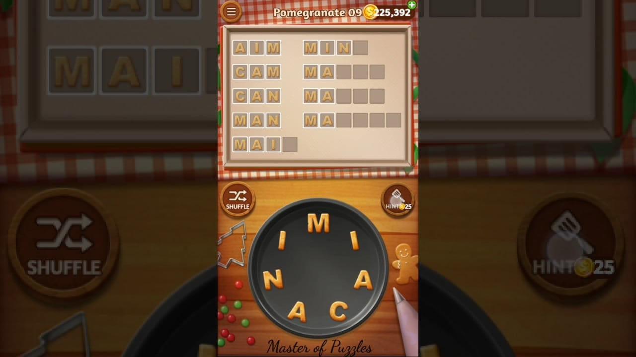 Word Cookies Pomegranate Level 9 Star Chef Solved