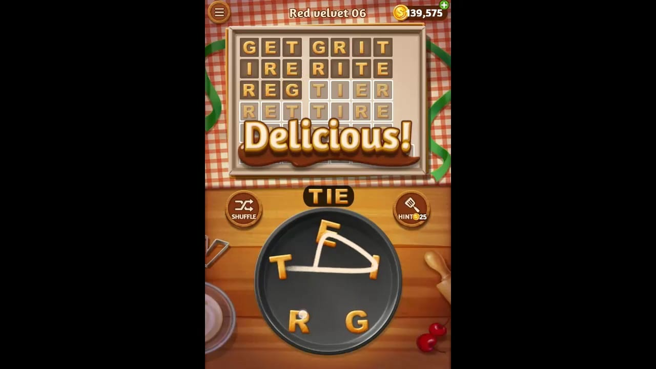 Word Cookies Red Velvet Pack Level 6 Answers