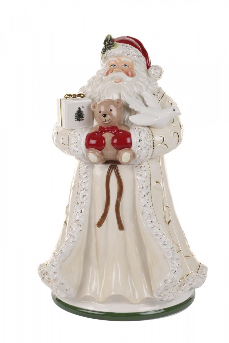 Spode Christmas Tree Gold Figural Collection Large Santa Cookie