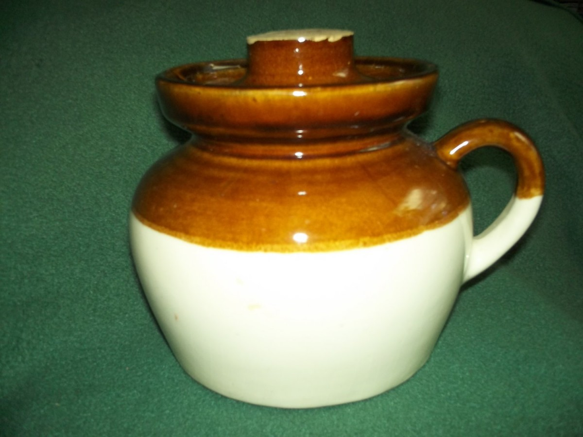 Rrp~robinson Ransbottom Pottery Stoneware Bean Pot W  Lid~old