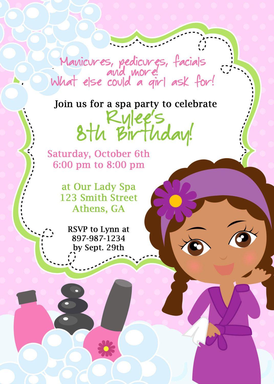 Spa Birthday Party Invitation  African American Invitation  Spa