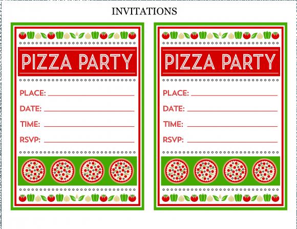 Amazing Pizza Party Invitations Free