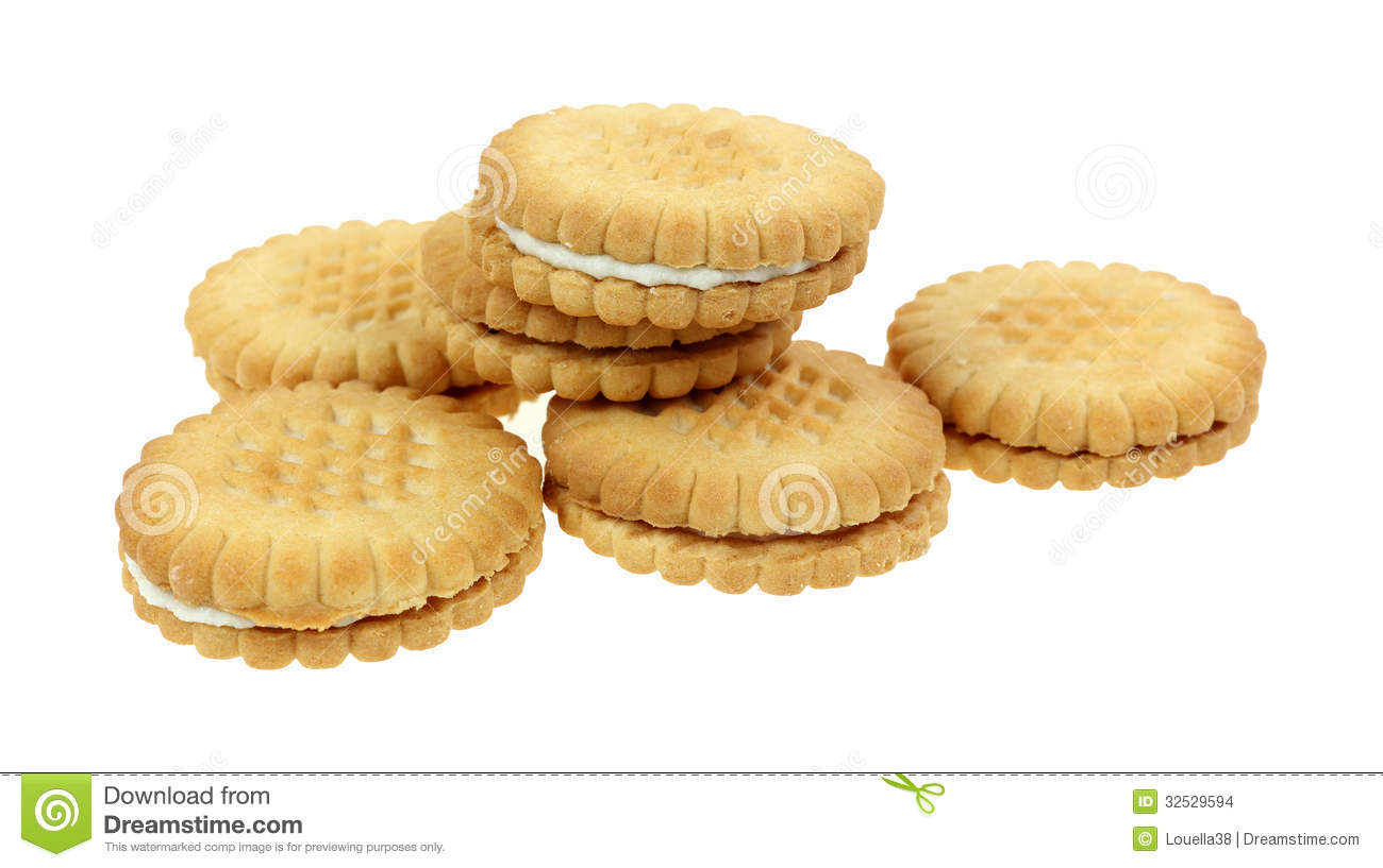 Banana Cream Filled Cookie Stack Stock Photo