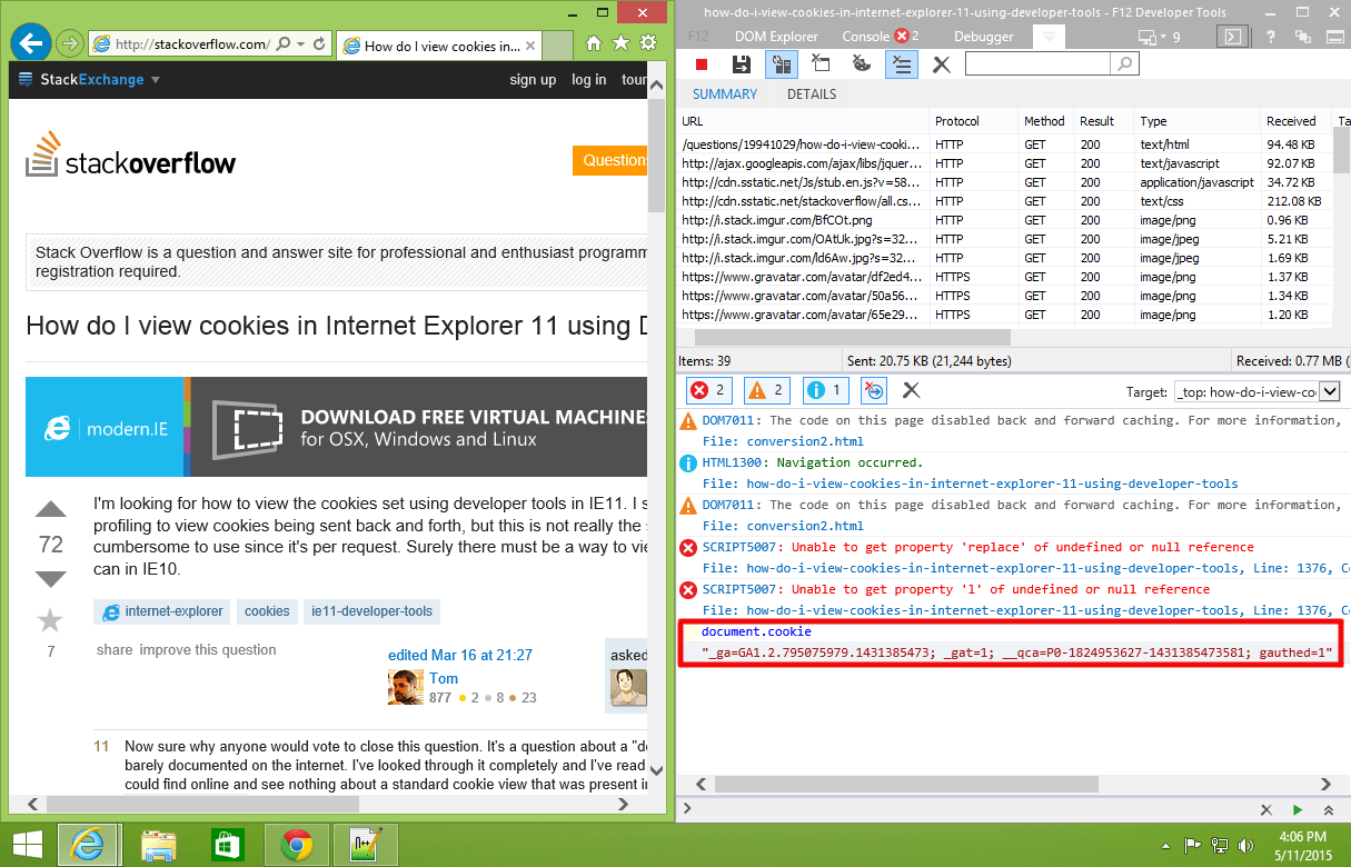 How Do I View Cookies In Internet Explorer 11 Using Developer