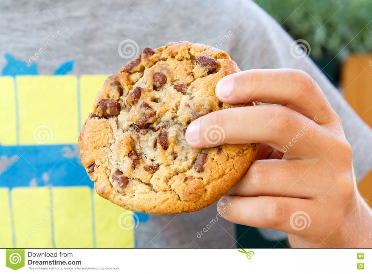Child Holding Chocolate Chip Cookie  Stock Image