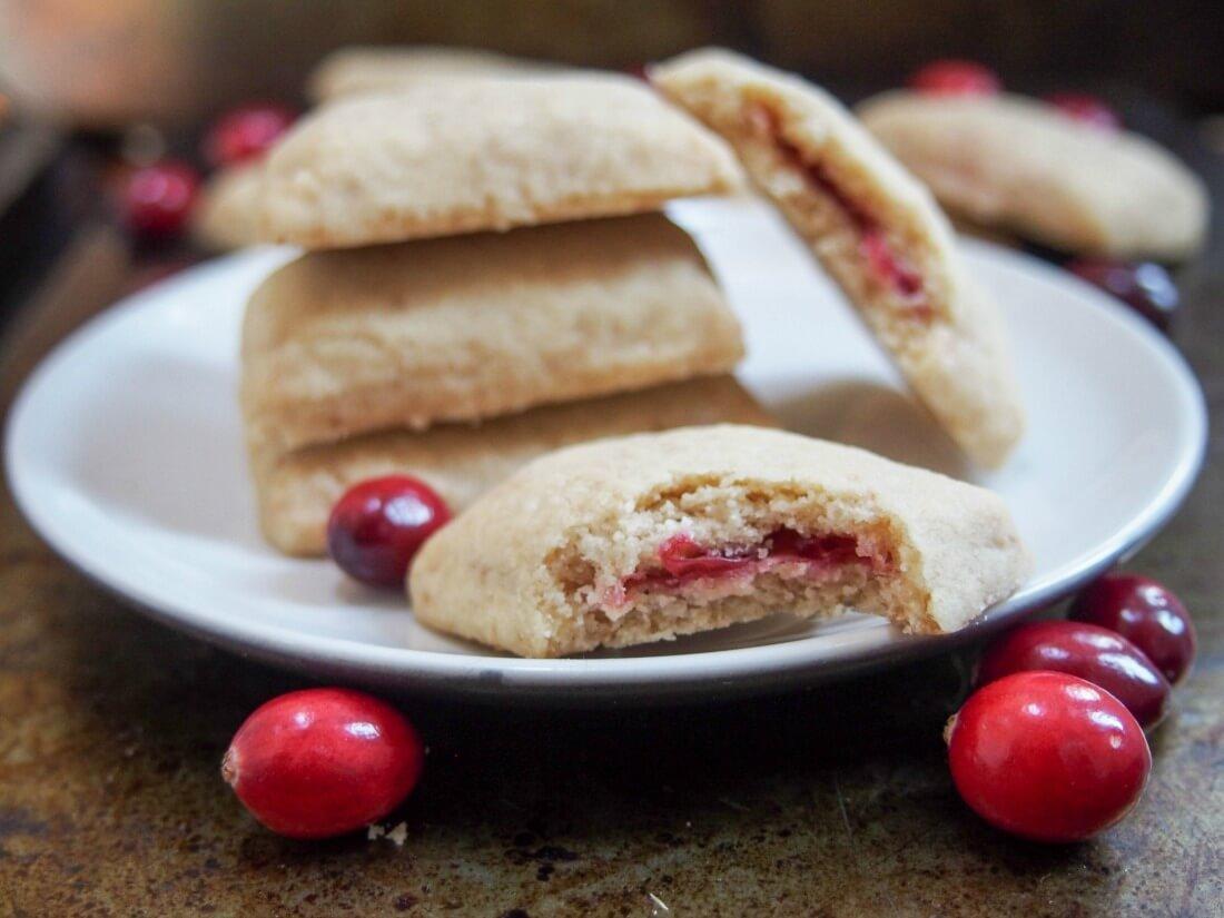 Cranberry Jam Filled Shortbread Cookies