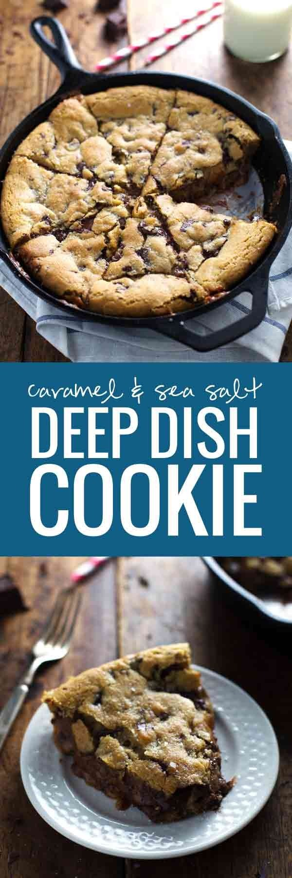 Deep Dish Chocolate Chip Cookie With Caramel And Sea Salt Recipe