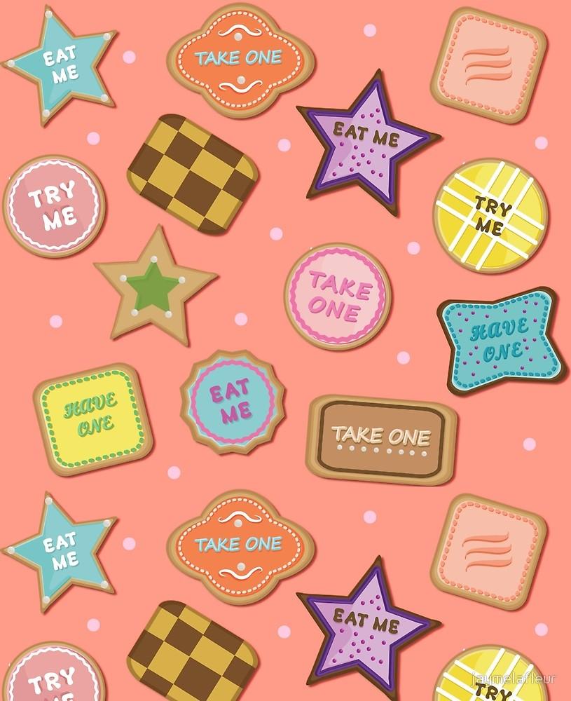 Alice In Wonderland Eat Me Cookies In Peach  By Jaymelafleur