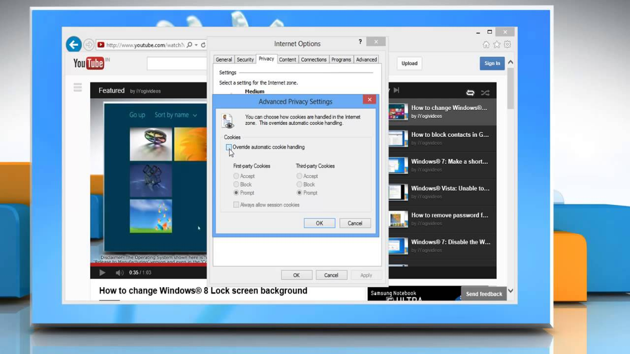 How To Enable Cookies In Internet Explorer® 10 On Windows® 8 Pc