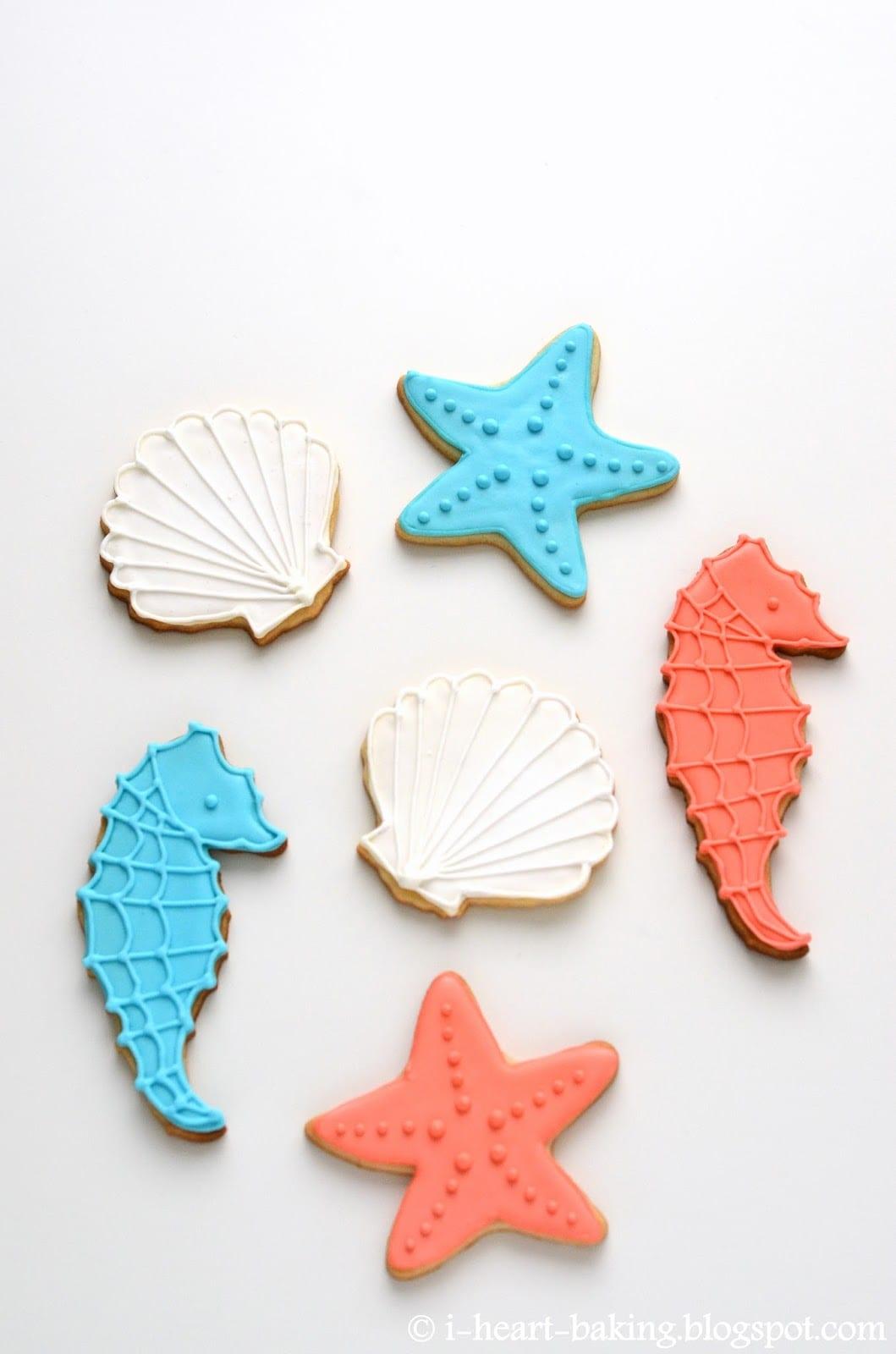 I Heart Baking!  Seashell, Starfish, And Seahorse Cookies