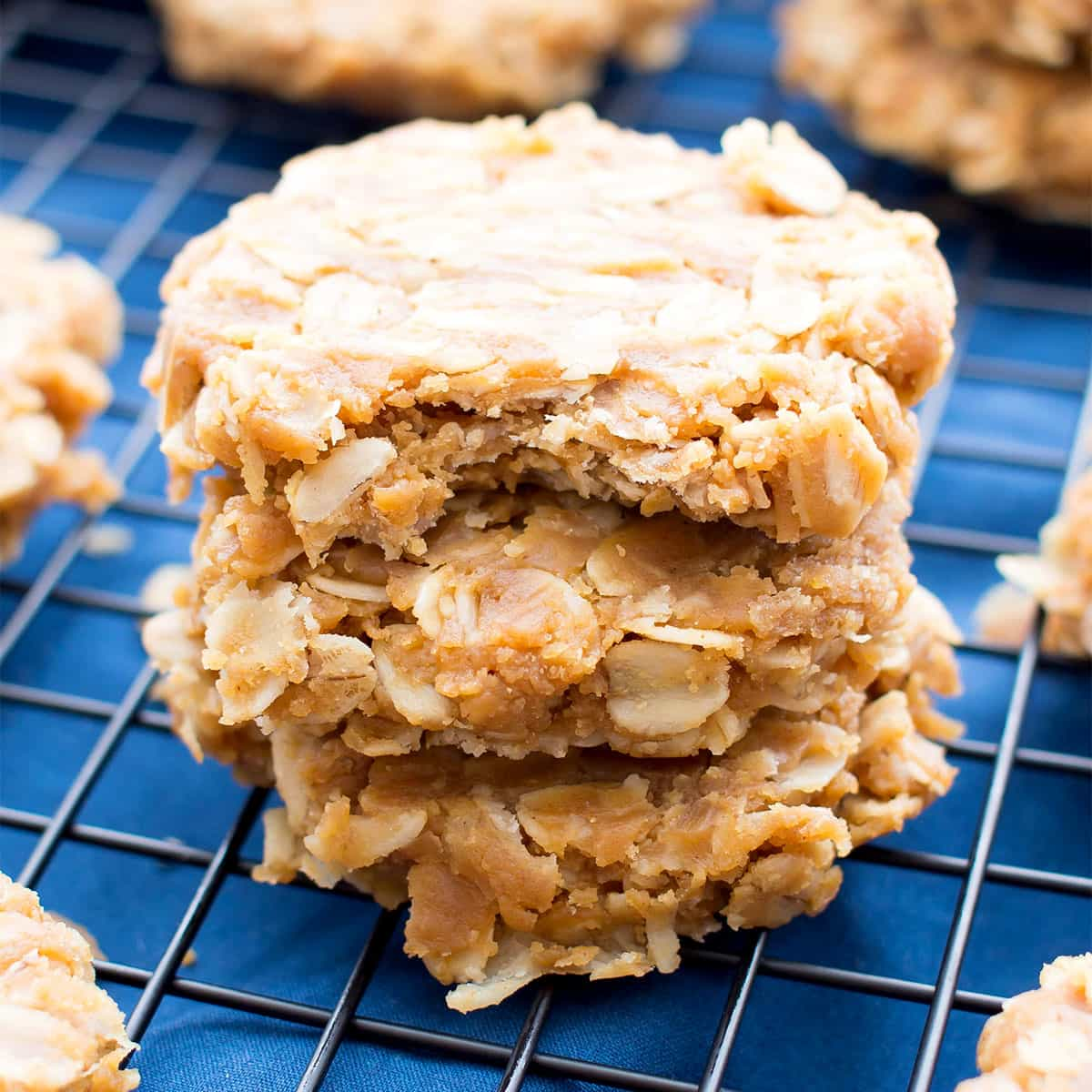 3 Ingredient No Bake Peanut Butter Oatmeal Cookies (gluten