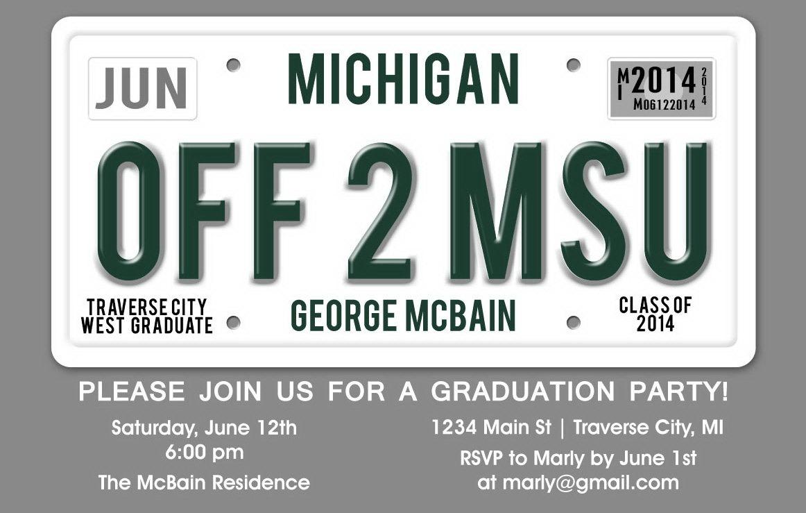License Plate Graduation Party Invitation