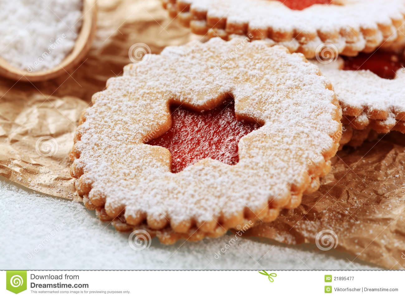 Jam Shortbread Cookies Stock Image  Image Of Xmas, Powdered