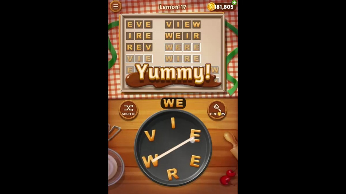 Word Cookies Lemon Pack Level 17 Answers