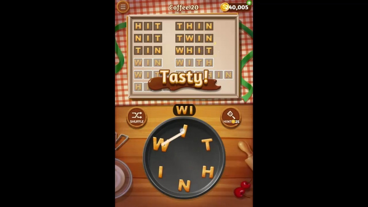 Word Cookies Coffee Pack Level 20 Answers