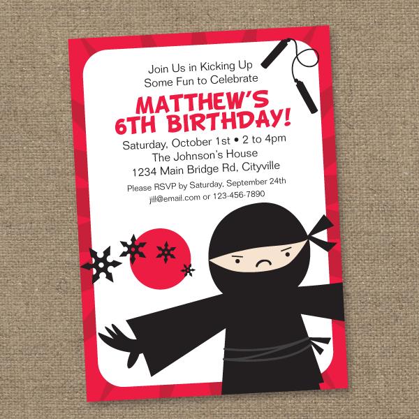 Ninja Best Ninja Birthday Invitations