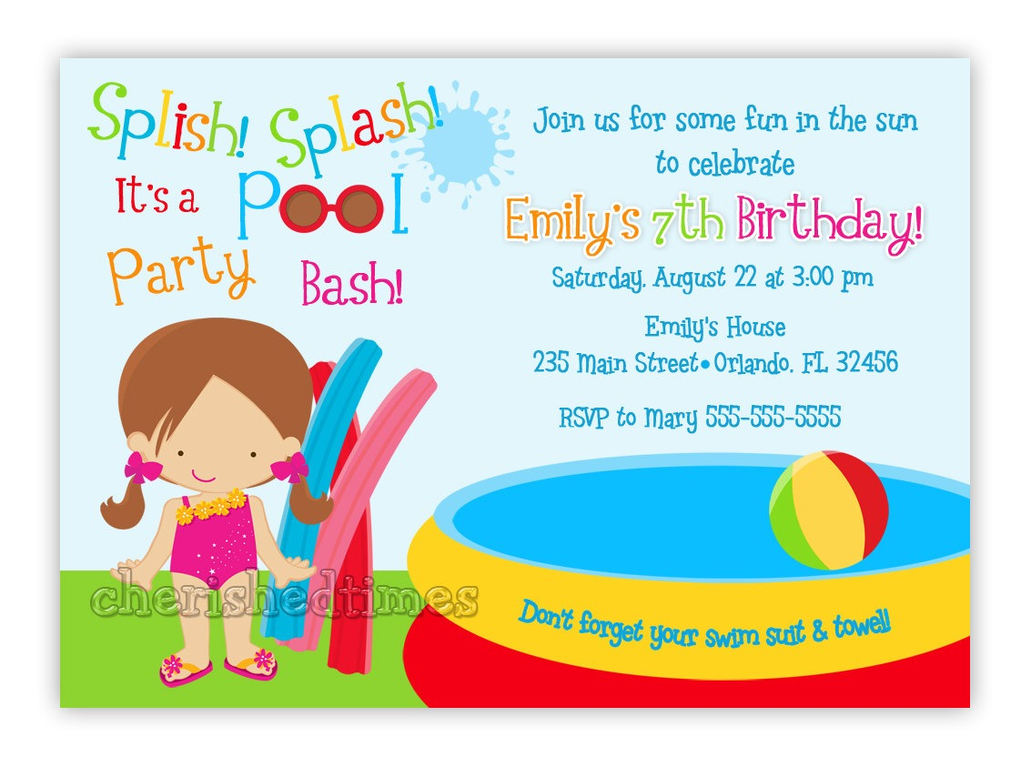 Orange Sun Pool Party Invitation For Kids And Boys Example Form