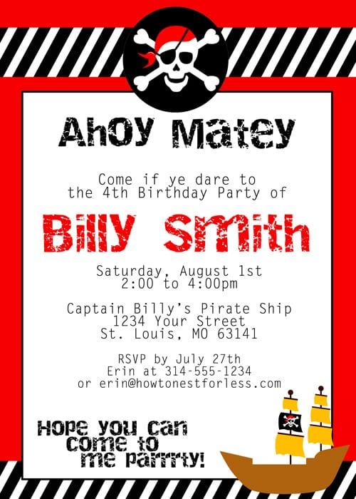 Pirate Party Invitations Pirate Party Invitations Of Delightful