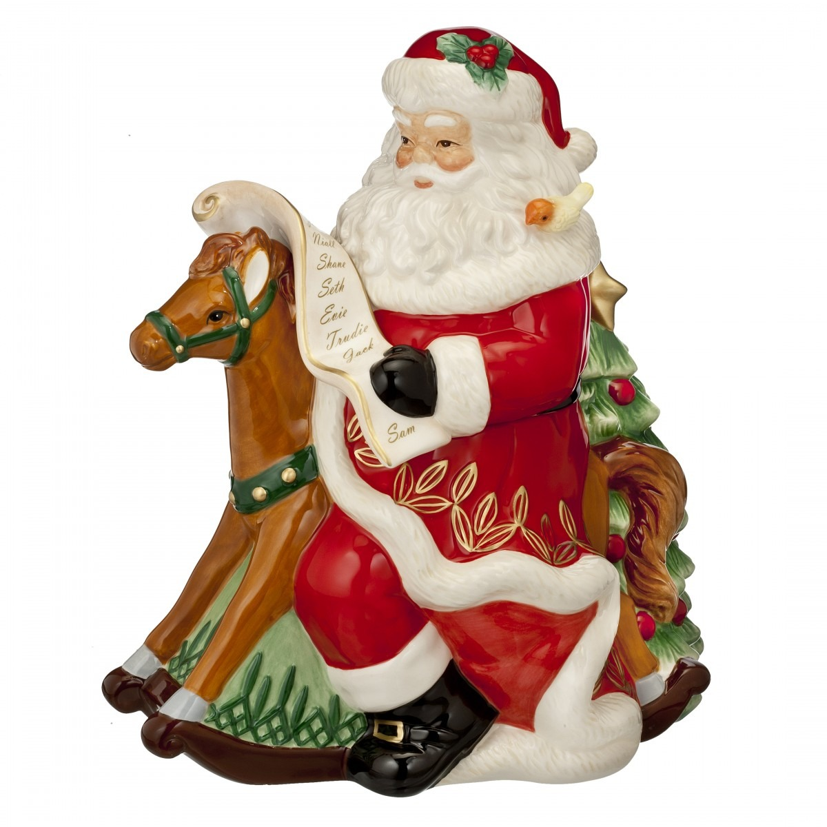Rocking Horse Santa Cookie Jar