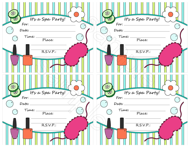 Spa Birthday Party Invitations Printables – Houston Hospitality