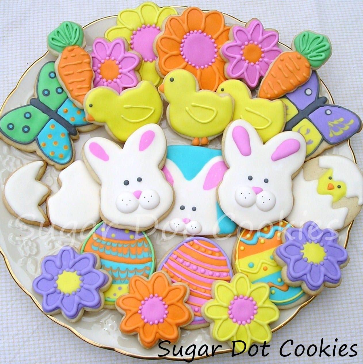 Sugar Dot Cookies  Easter Spring Decorated Sugar Cookies