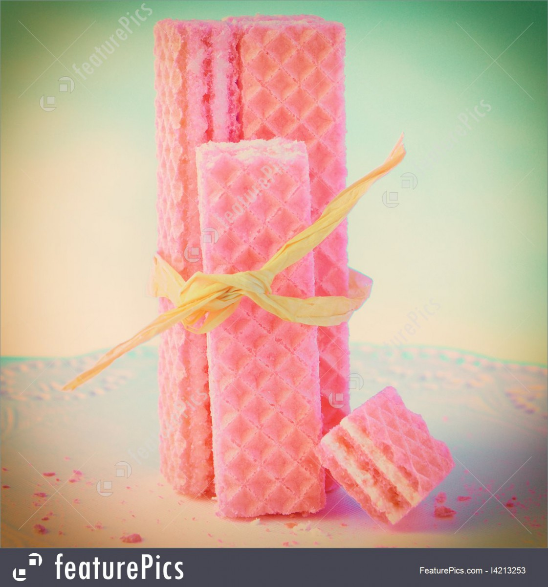 Picture Of Pink Wafer Cookies With Raffia