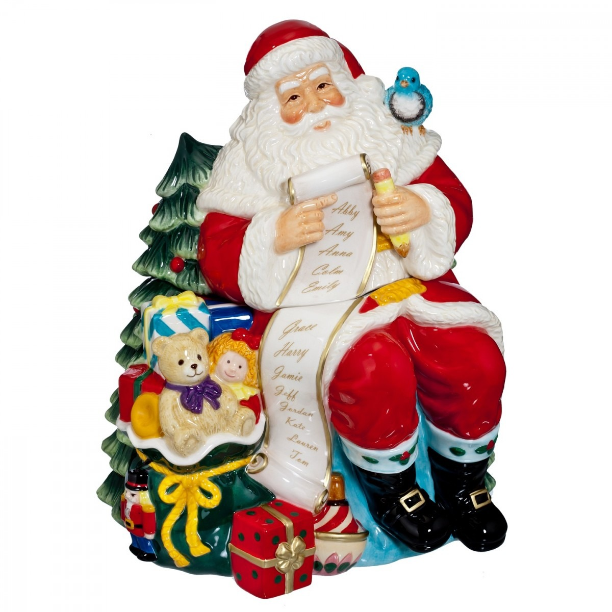 2015 Holiday Heirlooms Ceramic Cookie Jar Santa With List