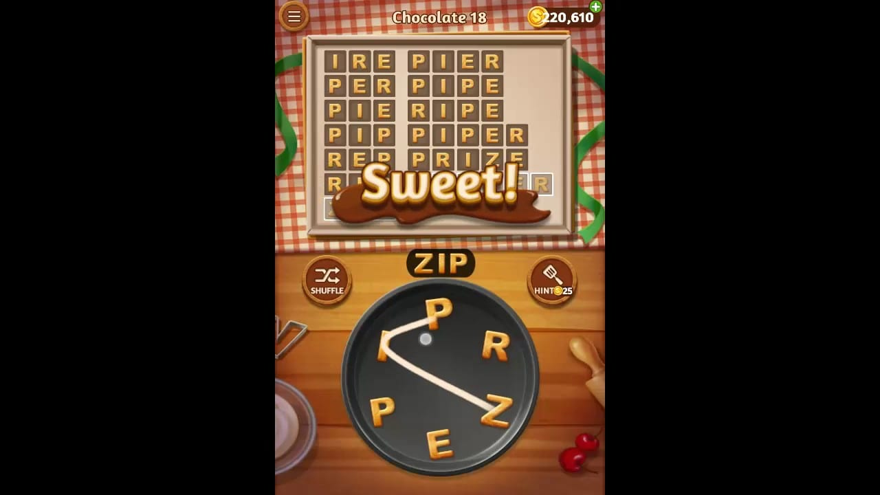 Word Cookies Chocolate Pack Level 18 Answers