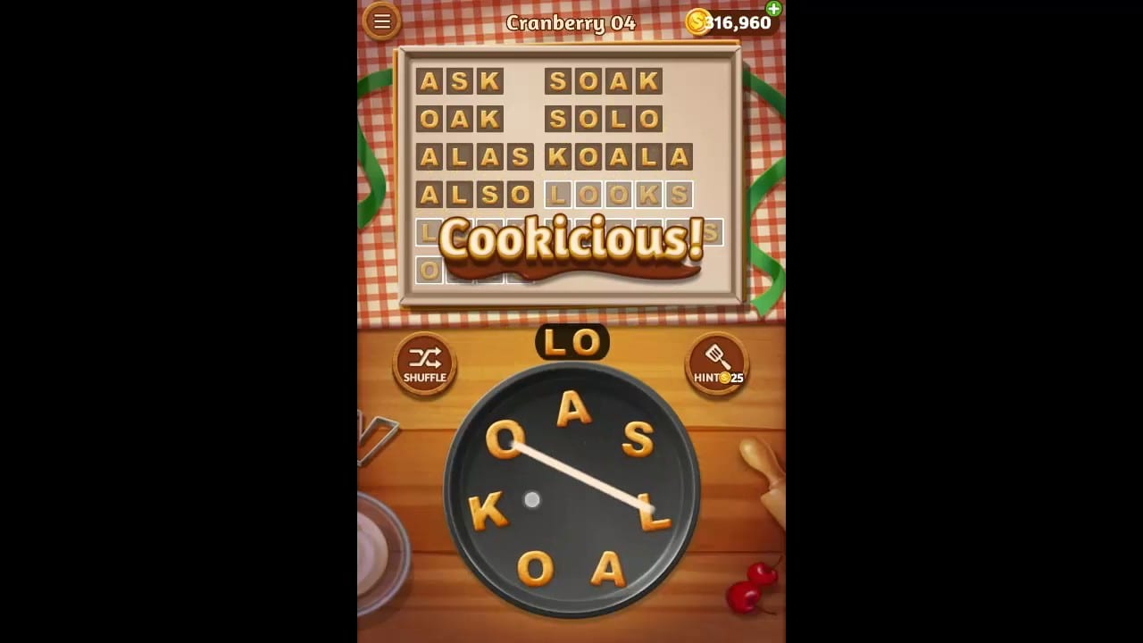 Word Cookies Cranberry Pack Level 4 Answers