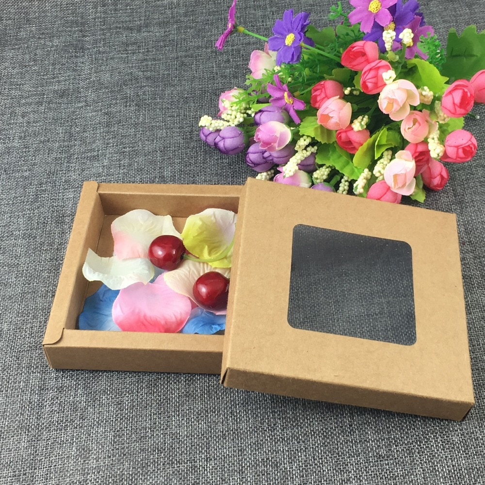 12pcs Lot Kraft Paper Macarons Boxes, Kraft Packaging Box With