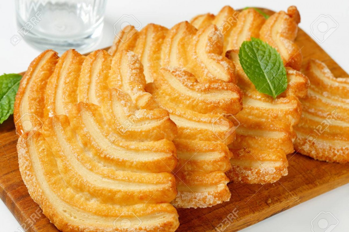 Italian Puff Pastry Cookies Coated With Sugar Stock Photo, Picture