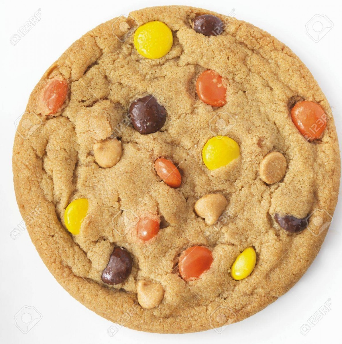 Reeses Pieces And Peanut Butter Chip Cookie; White Background