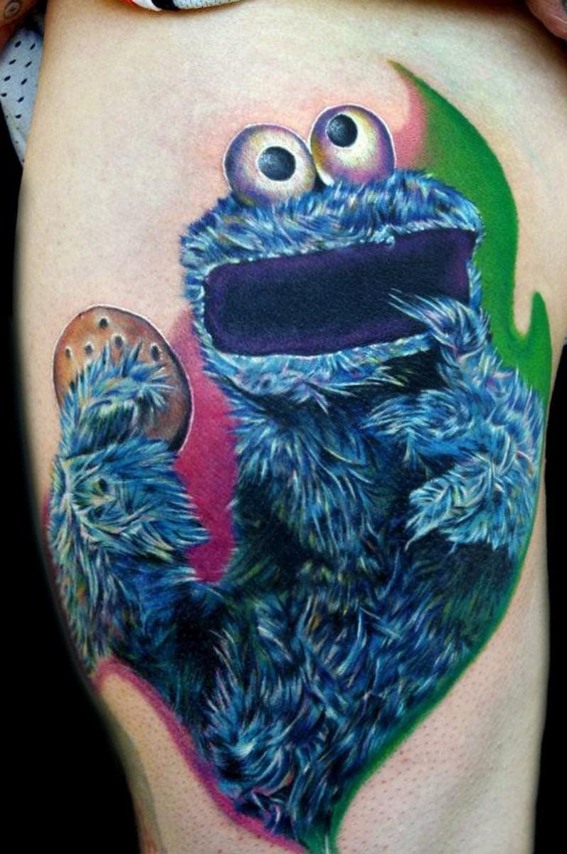 7 Cute & Kooky Cookie Monster Tattoos