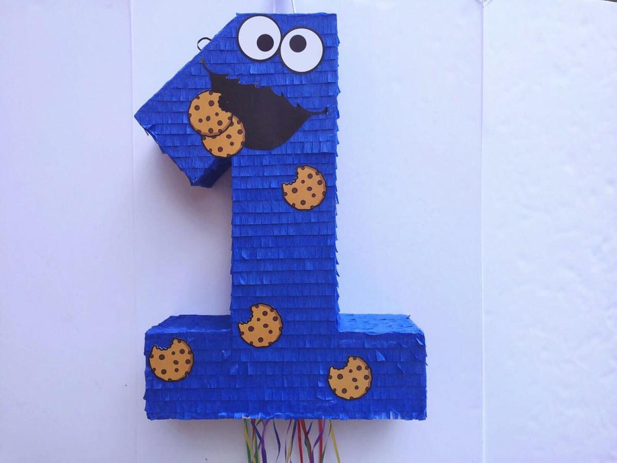 Cookie Monster Pinata, Sesame Street Party, Pull String Piñata