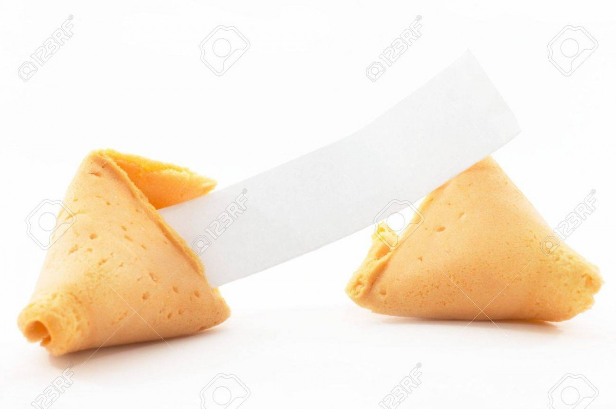 Chinese Fortune Cookie Open With Blank Paper, On White Background